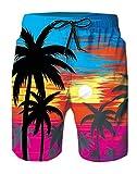 Spreadhoodie Hombre Palmera Bañadores Moda 3D Patrón Impreso Secado Rápido Bañadores Natacion Ligero Shorts Tallas Grandes para Playa Vacaciones Naranja XXL