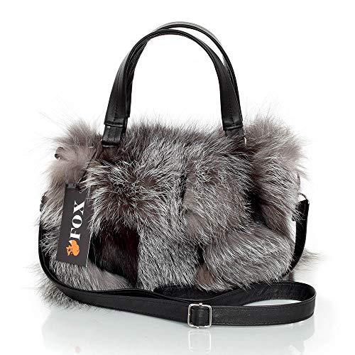 FOX FASHION Damen Handtasche mit Reißverschluss aus Silberfuchs Fell Pelztasche Handtasche Fuchs Fell Pelz Grau Fuchspelz Tasche Echtfell Silber Felltasche Echt