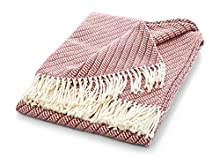 Manta de verano con flecos | Elegante y suave manta de verano | Manta para sofá con certificado Öko-Tex 100 | La manta ligera está fabricada en Europa | Rosa antiguo 130 x 170 cm Diseño Oslo