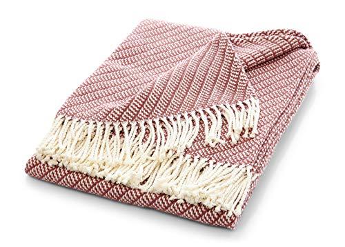 søstre & brødre Manta de verano con flecos   Elegante y suave manta para TV   Manta para sofá con certificado Öko-Tex 100   La manta está fabricada en Europa   Rosa antiguo 130 x 170 cm Diseño Oslo