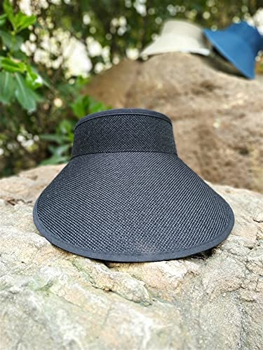 YSHSPED Sombrero de sol para mujer, mujer, con lazo, hecho a mano, con visera de paja, gorra de verano, gorra de sombra, sombrero de playa para niñas (Color: negro, Taille única)