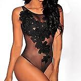 Women Sexy Lingerie, Letdown(TM), 1Pcs Spandex Lace Women Chest Embroidery Siamese Underwear Sleepwear (M, Black)