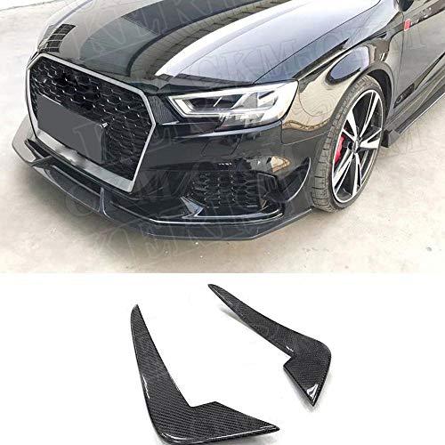 JTAccord Cassa delle canards dello Spoiler del Corpo delle Alette del separatore del Labbro del paraurti Anteriore in Fibra di Carbonio 2PCS per Audi RS3 2011-2015