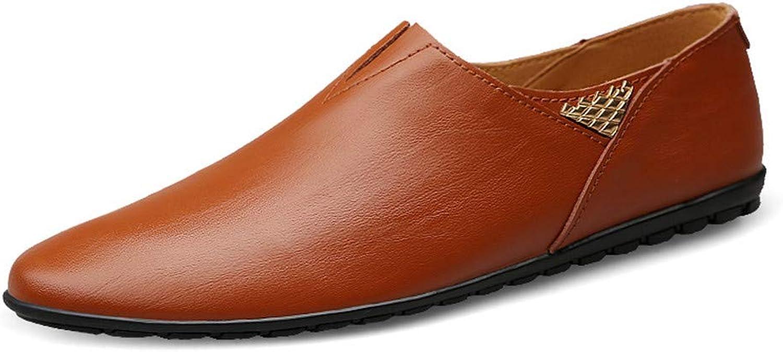 Hongjun-schuhe, Frühjahr Sommer 2018 Herren Mokassins, Herren Herren Herren Slip auf echtem Leder Loafer Schuhe Soft Walking Driving Mokassins Schuhe (Farbe   rot braun, Größe   43 EU)  59de70