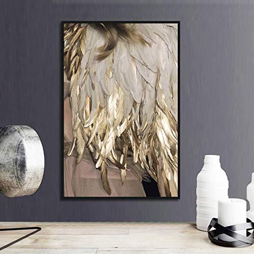 QianLei goudkleurige lamp poster canvas afdrukken muur Scandinavische minimalistische kunst modulaire woonkamer 40 x 60 cm geen lijst