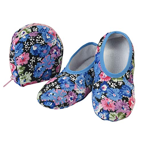 Snoozies Skinnies & Travel Pouch | Purse Slippers for Women | Travel Flats with Pouch | Womens Slippers On The Go | Floral Prints | Blue with Flowers | Large