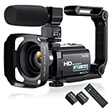 Video Camera Camcorder HD 1080P 30FPS 24MP Vlogging Camera for YouTube 3.0 Inch 270°Rotation Screen 16X Zoom Digital Camera with Microphone, 2.4 G Remote, Stabilizer, Lens Hood (2021 New Version)