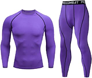 RkYAO Men Quick Drying Stretch Regular Fit rousers Base Layer Tight Set