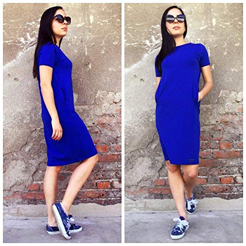 Elastisches Baumwollkleid mit Taschen, Lässig Stylisches Kleid in königsblauer oder Mintfarbe für Frauen mit Taschen, Baumwollkleid, Kleid mit kurzen Ärmeln, Kleid für jeden Tag, in Größen M-XL