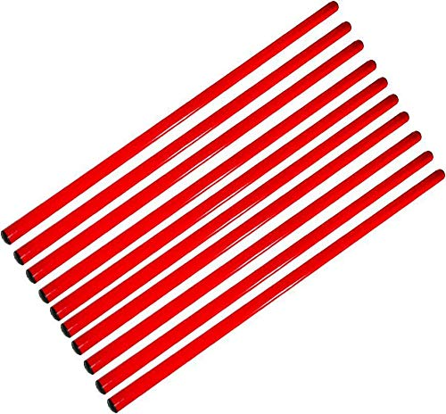 Agility Sport pour Chiens - Lot de 10 Jalons, Longueur 120 cm, Ø 25 mm, Rouge - 10x 120r