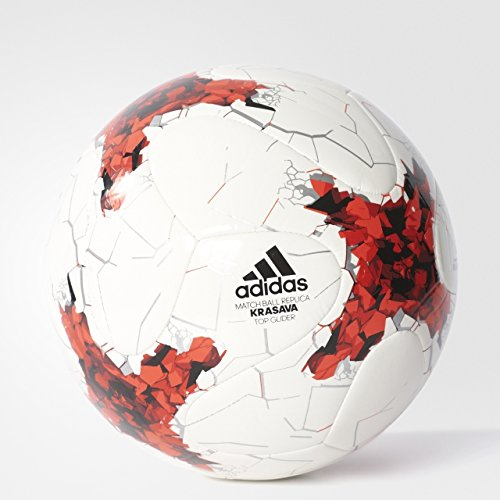 adidas Performance Confederations Cup Top Glider Soccer Ball, White/Red/Power Red/Clear Grey, Size 5