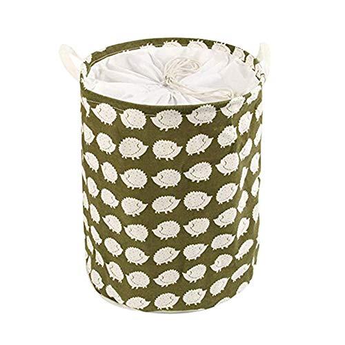 Demarkt–Cesta de Ropa Grande con Mango Resistente Redondo algodón Lino Plegable Cesta Estilo D
