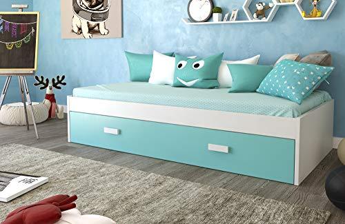 Venprodin Cama Nido Juvenil Doble Color Blanco Medidas : 41 cm Alto x 201 cm Ancho x 100 cm Profundo (Azul Caribe)
