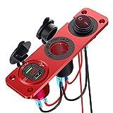 YGL Presa accendisigari marina 12V-24V,Pannello in lega di alluminio doppio USB / QC3.0 impermeabile da 36 W, con voltmetro LED e interruttore, utilizzato per auto, auto, rimorchi, navi(Rosso)