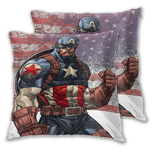 SSKJTC Toddler Pillowcase Captain America Fist Fist Flag Background for Couch Sofa Bed Chair Decorative 24x24 Inch Pack of 2