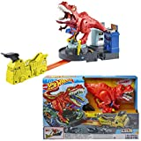 hot wheels dinosaur track - Hot Wheels T-Rex Rampage Track Set , Works City Sets, Toys for Boys Ages 5 to 10