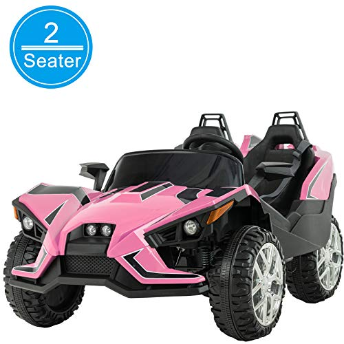 Uenjoy 2 Seats Kids Car 12V Ride On Racer Cars Battery Operated Electric Cars w/ 2.4G Remote Control,Spring Suspension Wheels,4 Speeds,LED Lights,Music,Bluetooth,AUX Cord,USB Port,Pink
