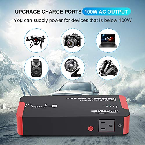 Jump Starter, YABER 2000A Peak 22000mAH 100W Portable AC Jump Starter Car Battery Jumper Starter (All Gas or 8.0L Diesel) Super Safe Car Booster Battery Charging Port