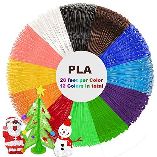 Tipeye 3D Stift Nachfüller 12 Farben 6,1 M, 3D Stifte Filament 1,75mm, 3D Stift Farben Set für ODRVM, Uvistare, Sunlu, PLUSINNO, QPAU, Lovebay, Nexgadget und dikale 3D Druckstift