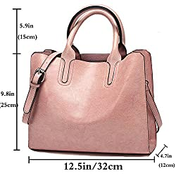 FiveloveTwo Womens Ladies Vintage Solid Color Handbags and Purses PU Leather Top-handle Satchel Hobo Crossbody Totes Shoulder Bags Pink