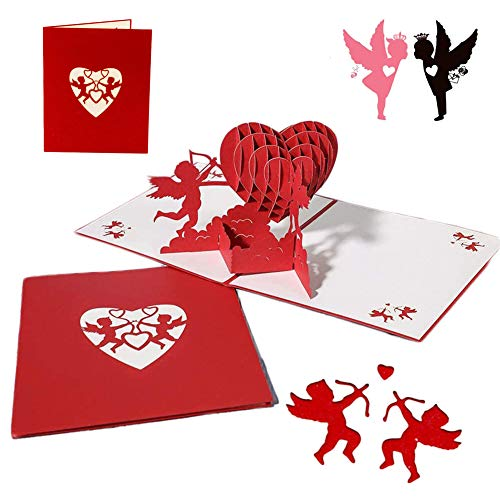 Tarjeta de felicitación emergente 3D, Tarjeta de felicitación de cumpleaños desplegable,para La Familia Niños Amigos Amante de San Valentín Feliz Cumpleaños Aniversario (Rojo Cupido)