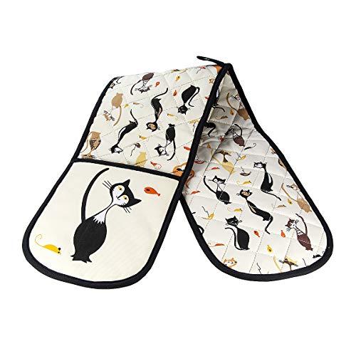 SPOTTED DOG GIFT COMPANY Guantes Dobles para Horno, Guantes de Cocina Resistentes al Calor, Diseño Elegante de Gato, Regalo para Cocineros y Amantes de los Gatos