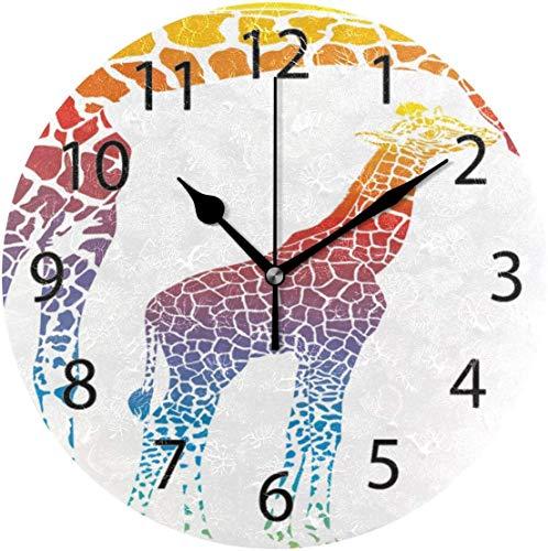 xinfub Wanduhr, rund, 25,4 cm Durchmesser, leise, Cartoon-Regenbogen-Mutter und Kinder, Tier-Giraffe, Dekoration für Zuhause, Büro, Schule