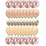 Gxhong 50 Stück Luftballons Rose Gold Konfetti Helium Ballons Champagner Gold Ballons Heliumballon Ballons Rosegold Latexballons für Hochzeit Mädchen Kinder Geburtstag Party Deko (Rosegold)