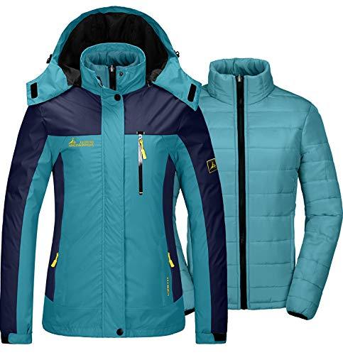 GEMYSE Damen 3 in 1 wasserdichte Skijacke Funktionsjacke Warm Winterjacke Winddichte Outdoor Wanderjacke Doppeljacke Regenjacke(Mondblau,EU XL)