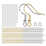 925 Sterling Mixed Earring Hooks 120 PCS/60 Pairs, Ear Wires Fish Hooks, Hypo-allergenic Jewelry Findings Parts with 120 PCS Clear Silicone Earring Backs Stoppers for DIY Jewelry Making