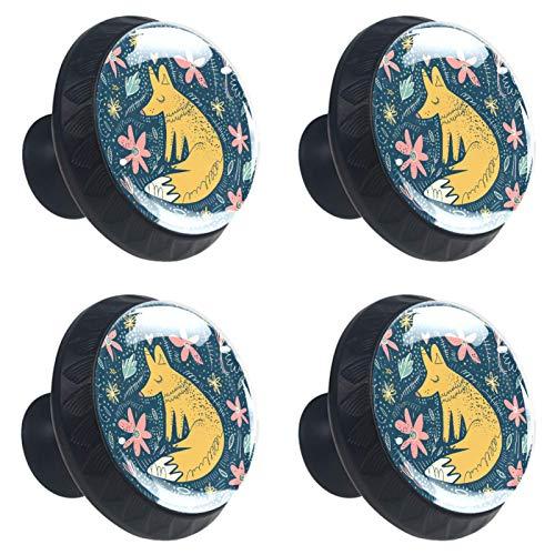 FURINKAZAN Manija armario de cocina puerta pomos cajón armario tirador de la manija ropa gancho moderno simple dibujos animados zorro floral