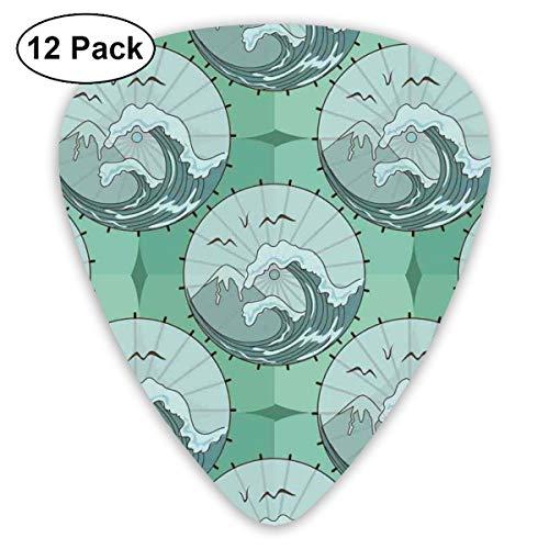 Gitaar Picks12pcs Plectrum (0.46mm-0.96mm), Wave Mountain And Gull Natuur Scenery In Cirkel Chinese Paraplu Patroon, Voor Uw Gitaar of Ukulele