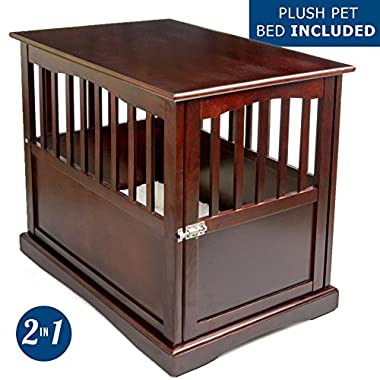 Petlo Pet Crate Kennel and End Table with Lockable Door and White Velvet Mattress Pad - Elegant Pinewood Furniture - Espresso Finish - 18  W x 26  D x 24  H – by