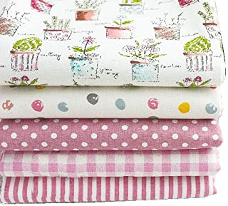 RayLineDo Pack of 5 X 45cm 50cm Different Pattern Cotton and Linen Patchwork Fabric Bundle Squares Quilting Scrapbooking Sewing Artcraft Bag Handbag Making Project Fabric