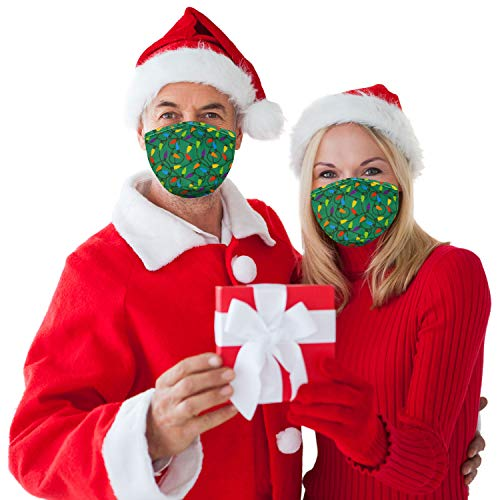 Snoozies 3-Layer Christmas Washable Face Mask w Filters & Nose Bridge - Xmas Lights