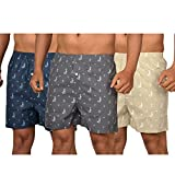 The Cotton Company Men's Cotton Boxers (Pack of 3) (Boxers004_Combo3_M_Grey, Navy Blue & Beige_Medium)