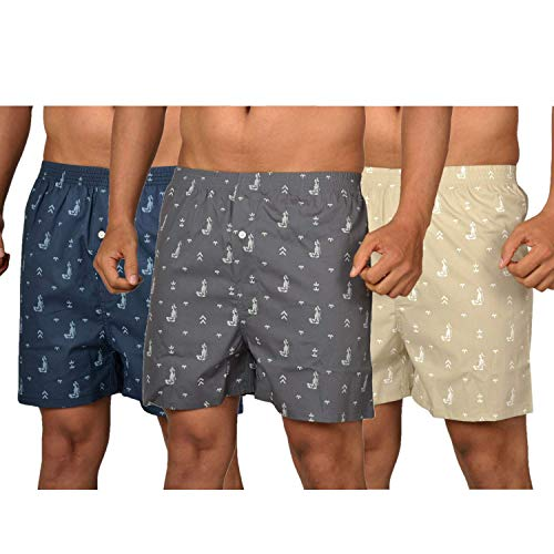 The Cotton Company Men's Cotton Boxers (Pack of 3) (Boxers004_Combo3_M_Grey,...