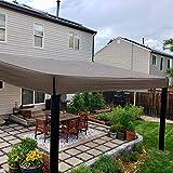 Floating Sun Shade Sail, 10'x 10' Brown Square Rectangle Shape 185GSM UV Block Material for Outdoor Patio Porch Pergola, Sun Solar Sail Shade