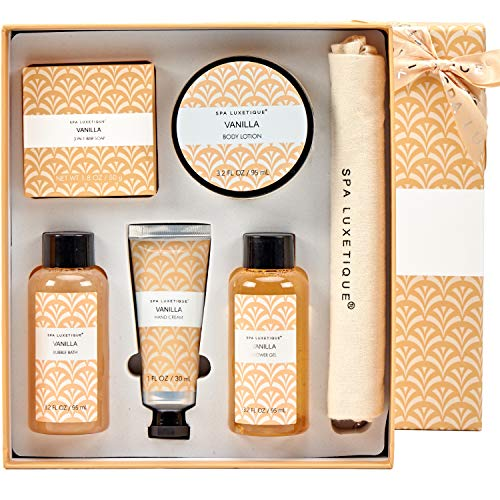 Spa Luxetique Spa Gift Box for Women, Vanilla Spa Gift Basket, 6 Pcs Bath and Body Gift Set Includes Body Lotion, Shower Gel, Bubble Bath, Hand Cream, Travel Bag. Best Gift Set for Women.