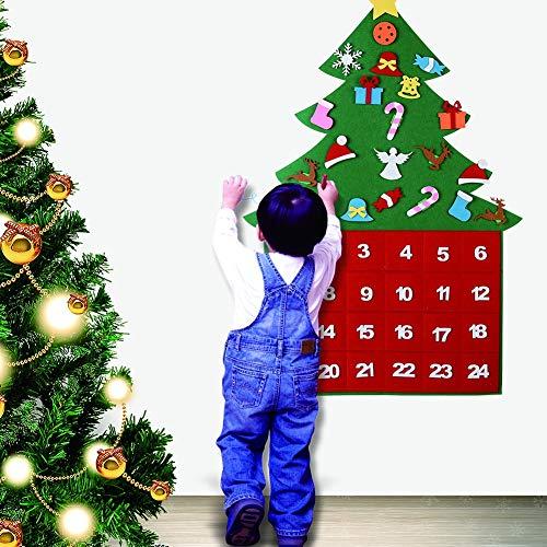 Calendario de Adviento Fieltro Reutilizable Árbol de Navidad Cuenta regresiva de 24 días Puerta de pared Colgante Decoración de Navidad Niños Regalo de bricolaje para tiendas de oficina en casa
