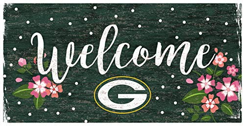 Fan Creations NFL Green Bay Packers Unisex Green Bay Packers Welcome Floral Sign, Team Color, 6 x 12