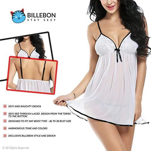 Billebon Women's Lycra Silk Nightwear Babydoll Dress with G-String Panty Free Size (White)