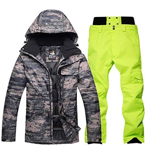 Traje de esquí para hombre de invierno, cálido, chaqueta de esquí + tirantes,...