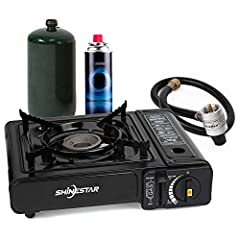 Dual fuel gas stove is compatible with both propane (fuel not included) and butane (fuel not included), operates on a single butane canister 8 oz or a propane canister 16.4 oz. Pass CSA certificated. Two specially designed safety devices, guarantee t...