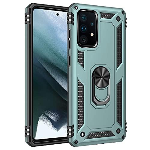 Funda para Xiaomi Mi 11 Ultra Teléfono Móvil Doble Capa Silicona Bumper Case con 360 Grados Rotaria Ring Holder Protectora Armor Cover [Protección contra Caídas Reforzada] (Verde, Mi 11 Ultra)