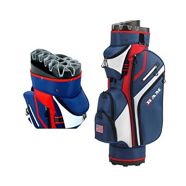 Ram Golf Premium Cart Bag with 14 Way Molded Organizer Divider Top – USA Flag