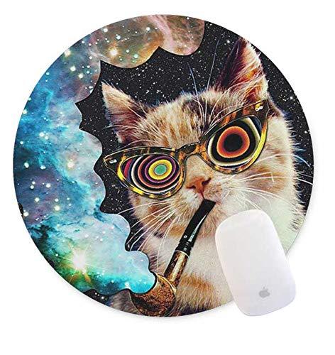 QJ CMJ Rundes Mauspad, rauchende Katze, Gummi, 20 x 20 cm