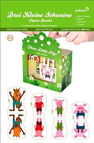 Forum Traiani Bastelvorlage DREI kleine Schweinchen - Papiertheater Pukcaka DIY Bastelbögen Papier-Karton für Kindergeburtstag als Geschenkidee, Bastelidee |Papiermodelle für Jungs und Mädchen