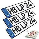 L & P Car Design KFZ Kennzeichen 3 Stück 52cm x 11cm Nummernschild 520 x 110mm DIN Autokennzeichen Fahrradträger Anhänger LKW Wunschprägung amtliches Autoschild (3 Stück)