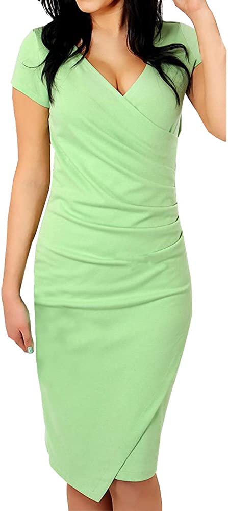 Ambrelia Women Slim Fitted Bodycon V-Neck Mini Wrap Dress Evening Party Dress
